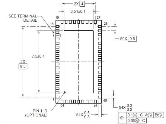 0.5 pitch QFN封装尺寸标注图